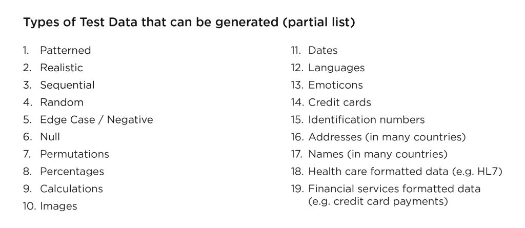 Types of test data that can be generated